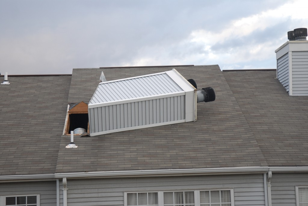 Wind damage multi-family townhouse in Leesburg, VA