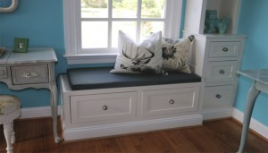 Custom window seats and cabinetry by Reston Painting & Contracting
